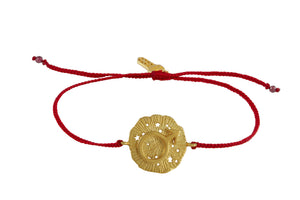 String bracelet with Mars amulet. Silver, gold plated.