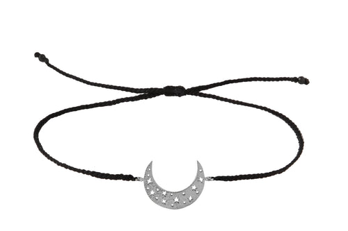 String bracelet with Moon amulet. Silver.