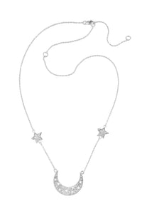 Moon swing necklace with 2 stars on the chain, 57 сm. Silver.