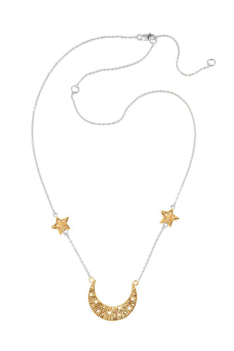 Moon swing necklace with 2 stars on the chain, 57 сm. Gold plated and silver.