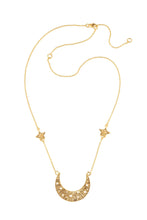 Moon swing necklace with 2 stars on the chain, 57 сm. Gold plated.