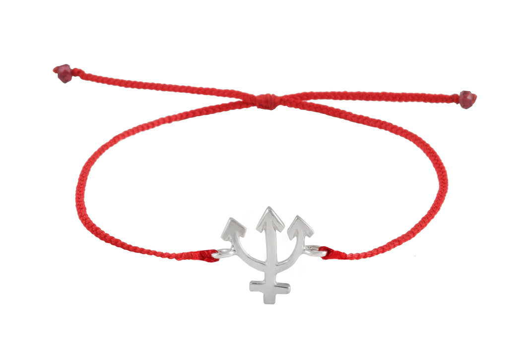 String bracelet with Neptune amulet. Silver.