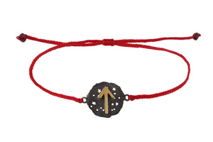 String bracelet with runic medalion amulet Tiwaz. Ggold plated and oxide.