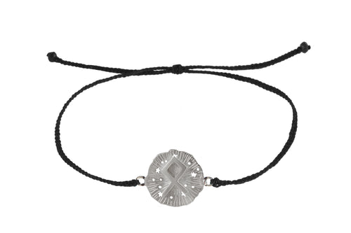 String bracelet with runic medalion amulet Odal. Silver.