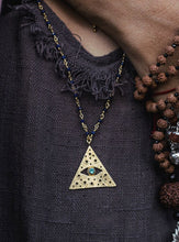 All-seeing-eye necklace on the chain with lapis lazuli. Gold plated.