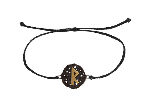String bracelet with runic medalion amulet Raido. Gold plated and oxide.