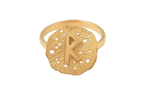 Ring with a small runic pendant Raido. Gold plated.