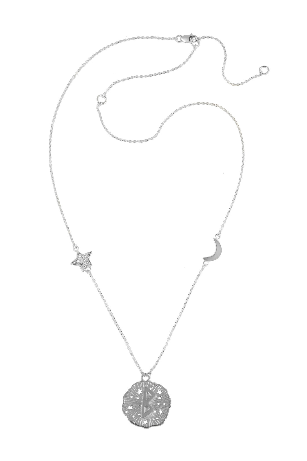 Chain necklace with small runic pendant Berkana, star and moon, 46 сm. Silver.