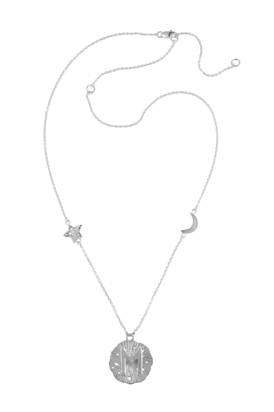 Chain necklace with small runic pendant Ewaz, star and moon, 46 сm. Silver.