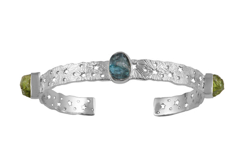 Cosmic lace silver cuff with 3 rough stones