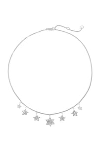 "Chain necklace ""7 stars"" 43 cm, silver."