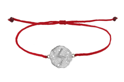 String bracelet with runic medalion amulet Soulo. Silver.