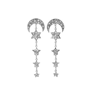 Moon and 4 stars earrings. Silver.