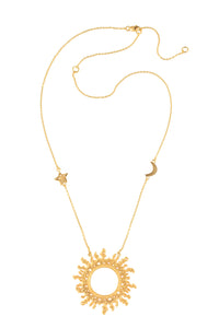 """Sun amulet necklace"", star and moon on the chain, 60 cm"