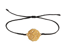 String bracelet with runic medalion amulet Soulo. Gold plated, gold plated and oxide.