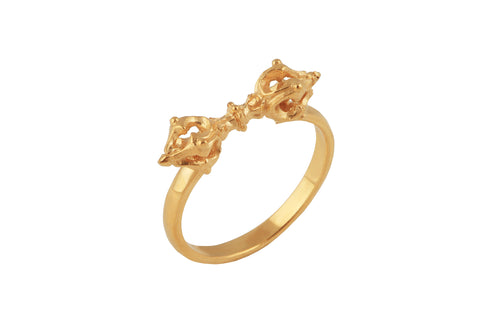 Vajra ring. Gold plated.