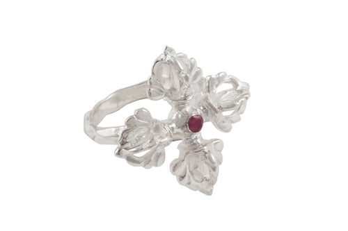 Vajra ring. Silver, pink sapphire.