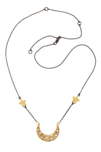 Moon swing necklace with 2 stars on the chain, 57 сm. Gold plated and oxide.