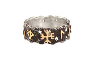 """Protection ring"" with golden runic formula for protection"