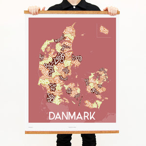madmap danmark poster vintage canvas print red