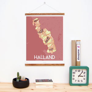 madmap halland poster vintage canvas print red