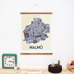 madmap malmo poster vintage canvas print beige