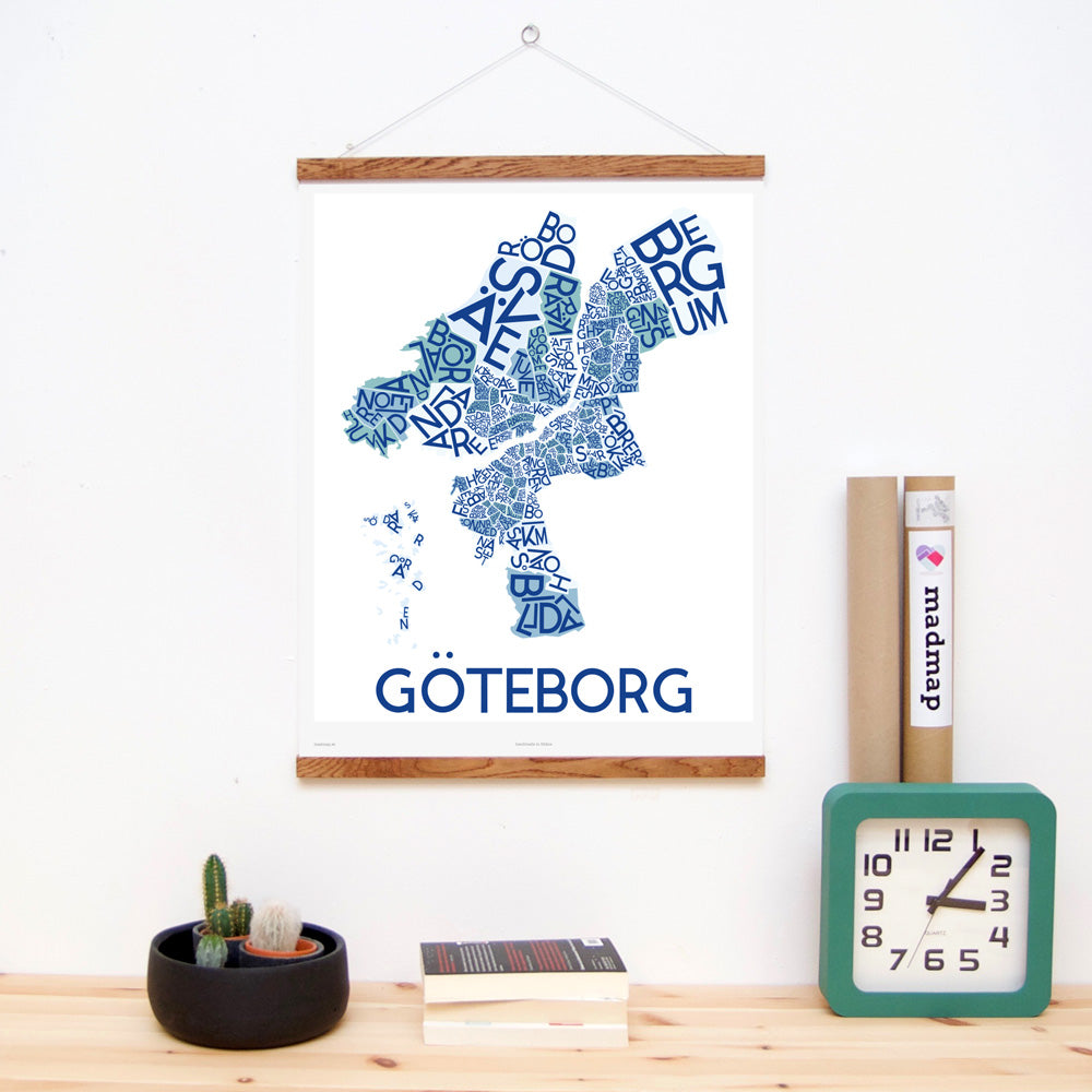 madmap göteborg poster vintage canvas print blue