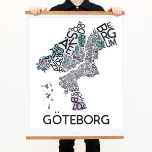 madmap göteborg poster vintage canvas print white