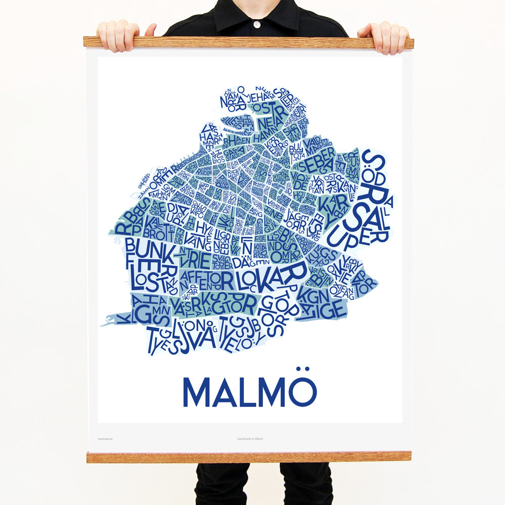 madmap malmo poster vintage canvas print blue