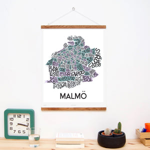 madmap malmo poster vintage canvas print white