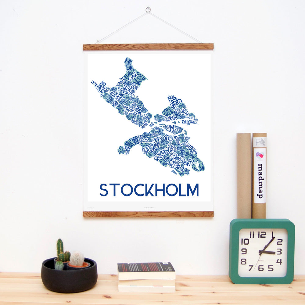 madmap stockholm poster vintage canvas print blue
