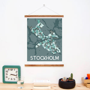 madmap stockholm poster vintage canvas print green