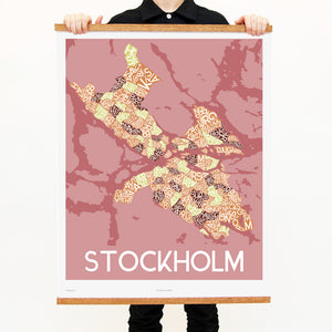 madmap stockholm poster vintage canvas print red