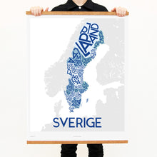 madmap sweden poster vintage canvas print blue
