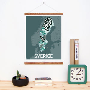 madmap sweden poster vintage canvas print green