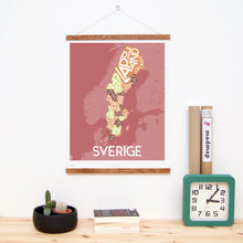 madmap sweden poster vintage canvas print red