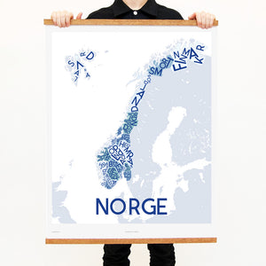 madmap norway poster vintage canvas print blue