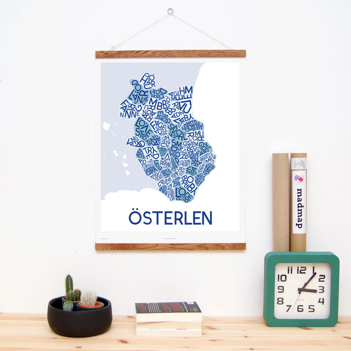 madmap osterlen poster vintage canvas print blue