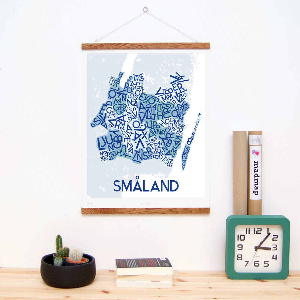 madmap smaland poster vintage canvas print blue
