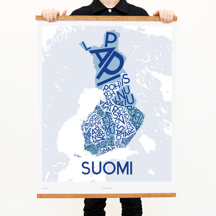 madmap finland poster vintage canvas print blue