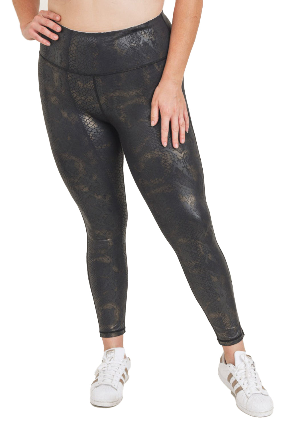 "Gold/Black Snake Foil High-Rise 28"" Legging"