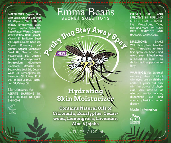Emma Beans Pesky Bug Stay Away Spray and Natural Hydrating Skin Moisturizer