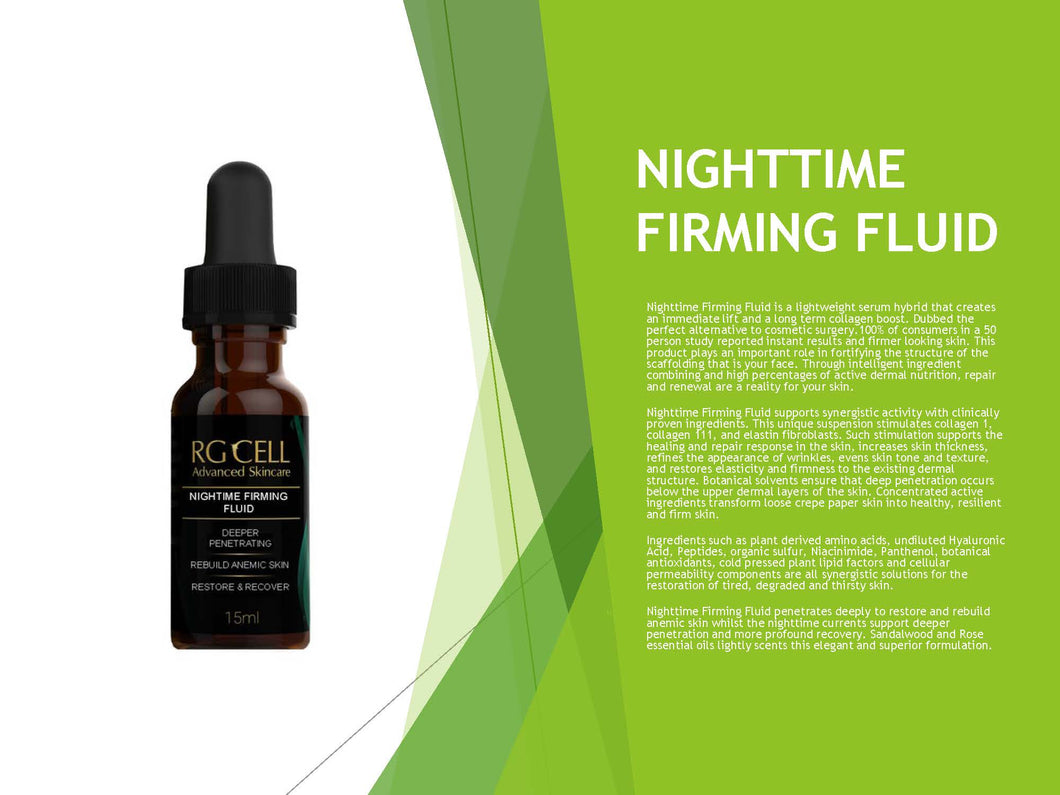 NIGHTTIME FIRMING FLUID (Available in 15ml, 60ml, & 120ml)
