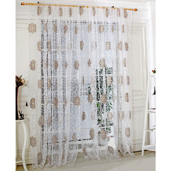 Flower Embroidered Tulle Curtain