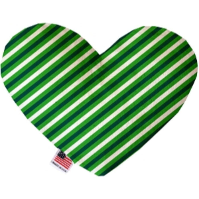St. Patrick's Stripes Stuffing Free Heart Dog Toy