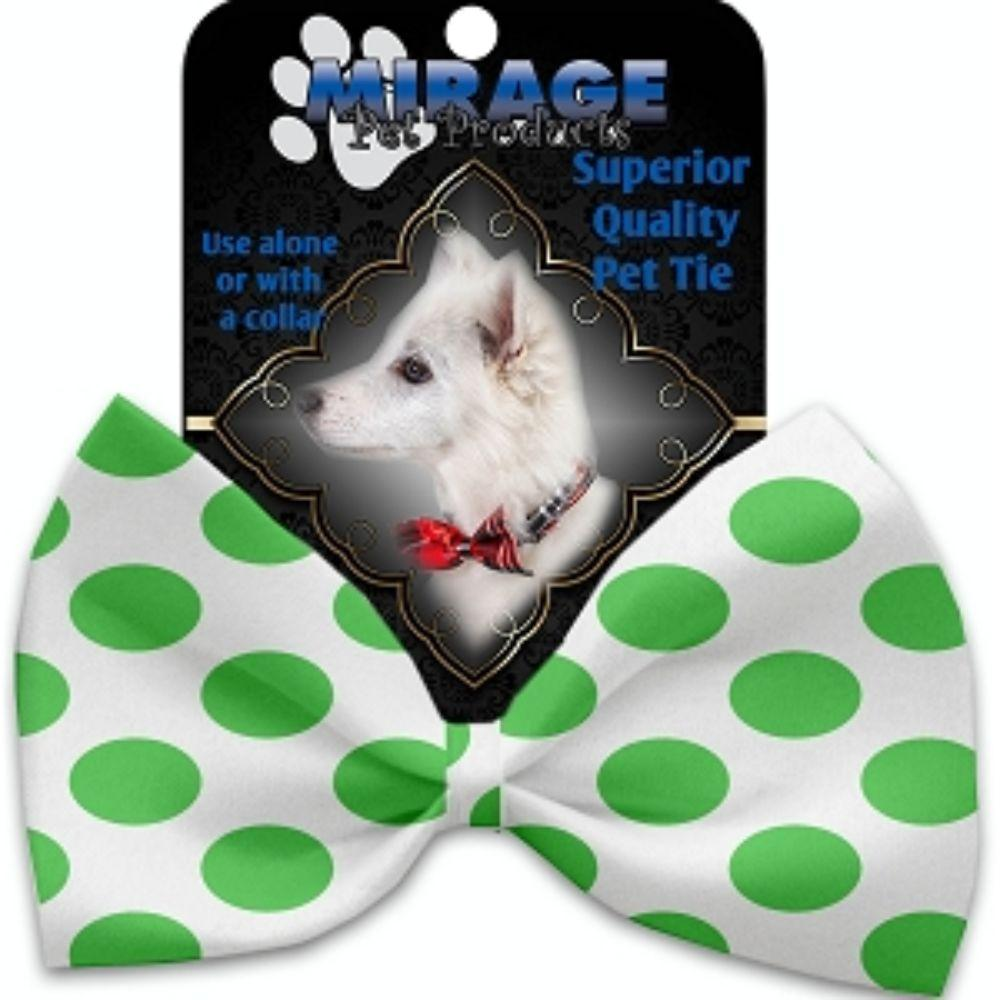 White and Green Dotted Pet Bow Tie