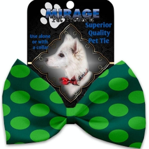 Green on Green Dots Pet Bow Tie Collar Accessory with Velcro