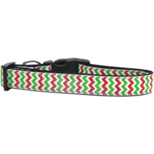 Christmas Sparkle Chevron Nylon Dog Collars