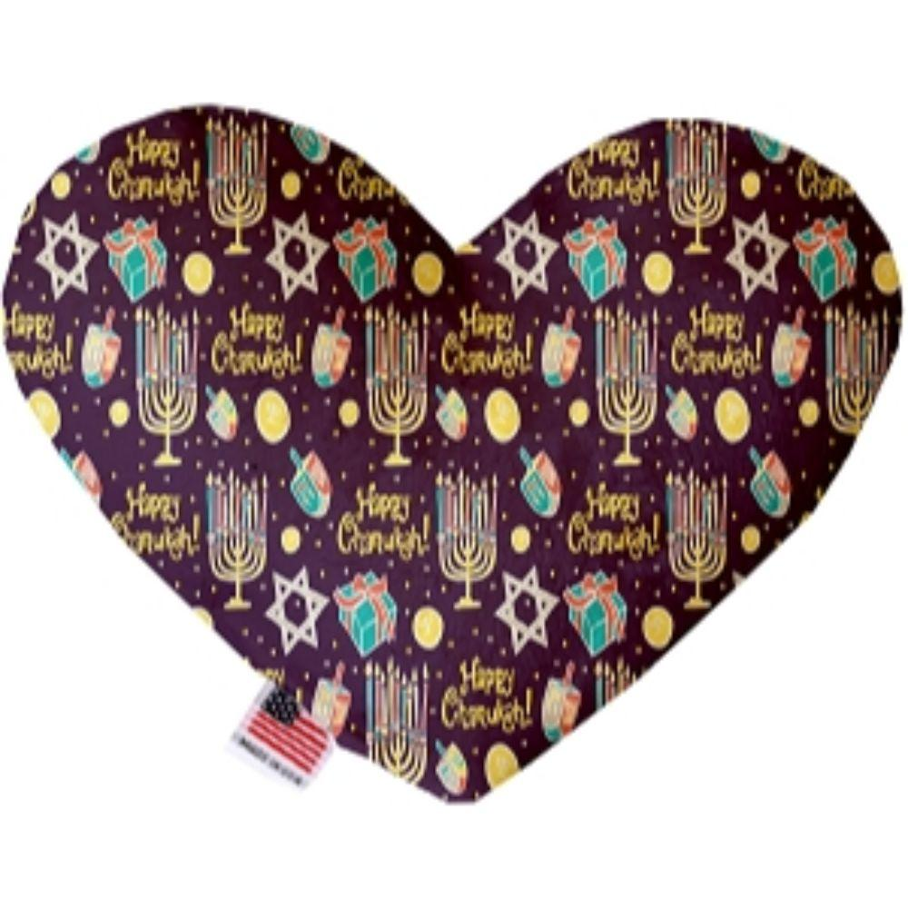 Happy Chanukah Canvas Heart Dog Toy