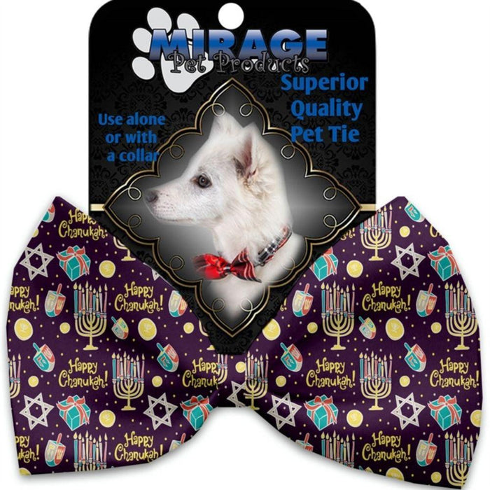 Happy Chanukah Pet Bow Tie Collar Accessory with Velcro